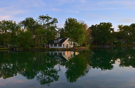 Lake, House, Reflection, Water, Trees, Light, Evening