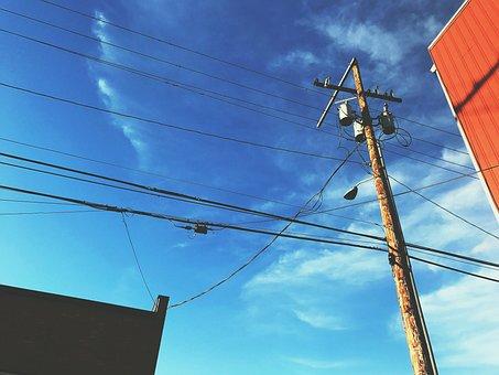 City, Street, Alley, Urban, Grunge, Sky, Blue, Red