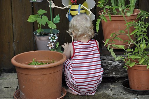 Child, Terrace, Playing, Pots