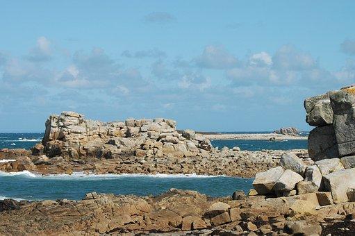 Brittany, Rocky, Sea, France, Côte D'armor