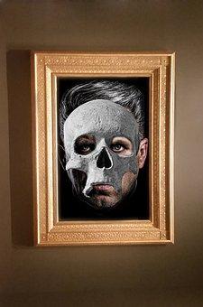 Skull, Man, Face, Portrait, Frame, Gold, Black