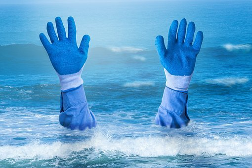 Hands, Drowning, Sea, Cold, Wet, Gloves, Water, Rescue