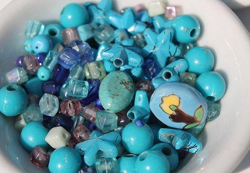 Craft, Beads, Necklace, Blue, Turquoise, Color Therapy