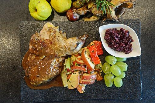 Game, Pheasant, Lingon, Apples, Grapes, Fried, Food