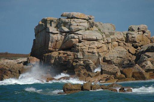 Brittany, Sea, Spray, Rock, Coast, Wave, Rocky Coast