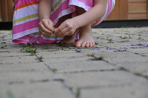 Terrace, Child, Hands, Feet, Stone Floor