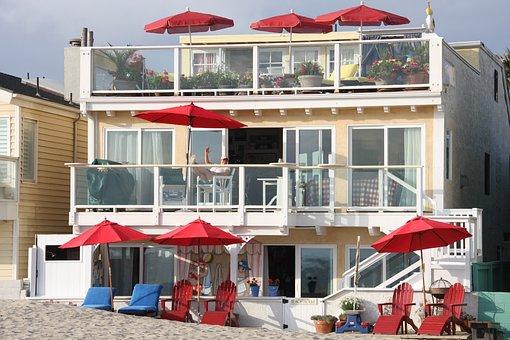 Beach House, Red Umbrellas, Three Story, Vacation