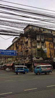 Thailand, Street, Electricity, Cables, Tuk Tuk