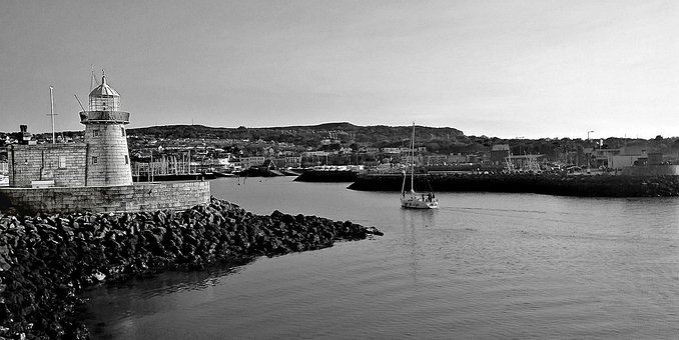 Dublin, Ireland, Irish, Port, Boat, Lighthouse, Vintage