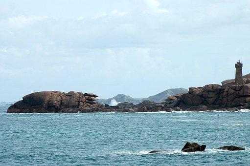 Headland, Sea, Lighthouse, Water, Sky, Wave, Rock