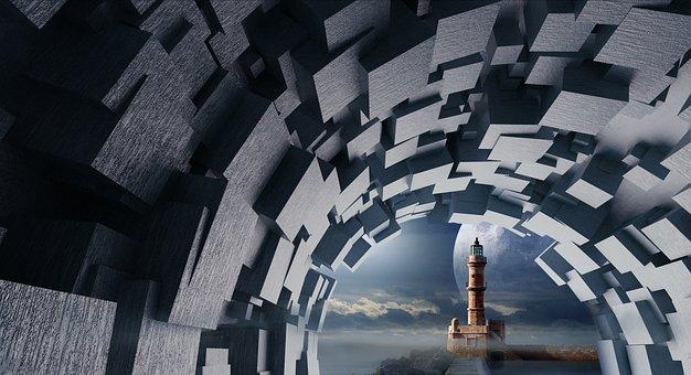Cube, Wood, Tube, Lighthouse, Tunnel, Moon, Light