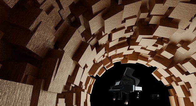 Cube, Wood, Tube, Music, Sound, Piano, Tunnel, Wing