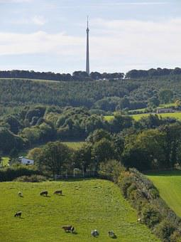 Emley Moor, Tv Mast, Yorkshire, Antennae, Blue, Cloud