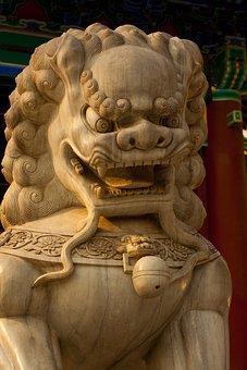 Asian, Chinese, China, Statue, Dog, Lion, Dragon