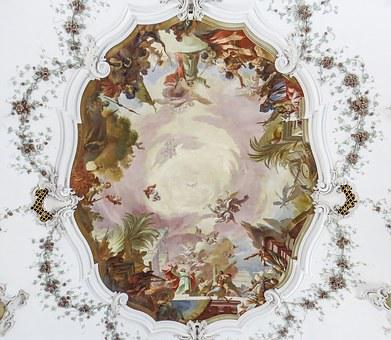 Ceiling Painting, Painting, Antique, Church, Christian