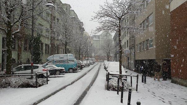 Snow, Winter, City, Cologne, Deutz, Tire Track