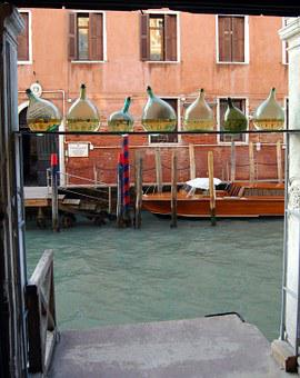 Ampoules, Channel, Door, Venice, Glass, Containers