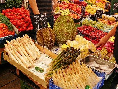 Market Stall, Market, Vegetable Stand, Asparagus