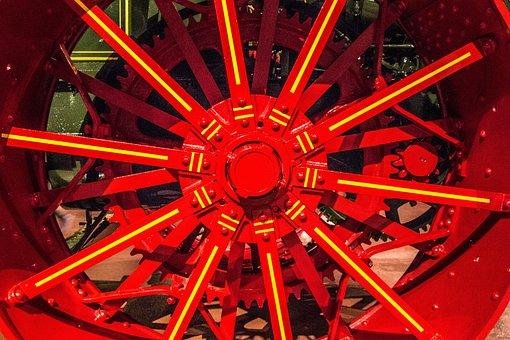 Metal Wheel, Tractor, Spokes, Red, Antique, Design
