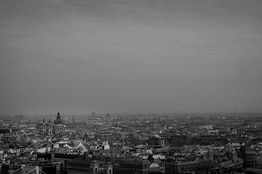 Black And White, Budapest, Hungary, Black, White, City