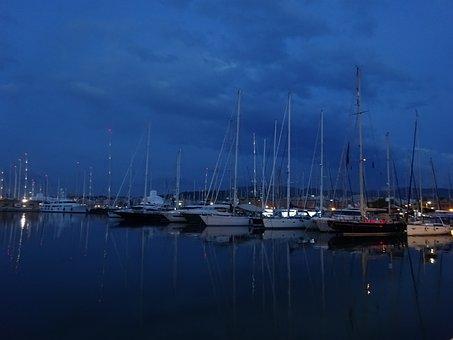 Boats, Night, Palma, Dique Del Oeste