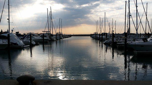 Sun Rise, Boats, Harbor