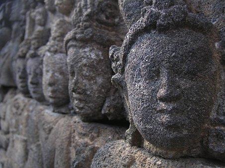 Sculpture, Faces, Stone Figure, Head, Asia, Stone
