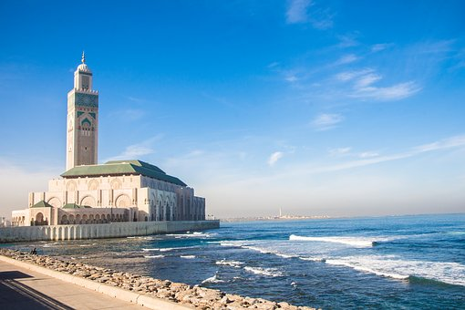 Casablanca, Mosque, Sea, Morocco, Travel, Architecture