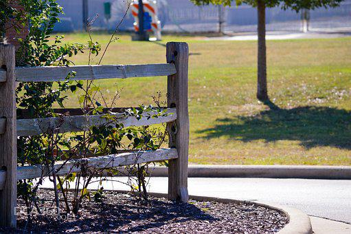 Fence, Post, Mulch, Bush, Grass, Decor, Area, Nature