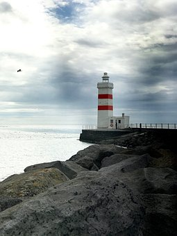 Iceland, Lighthouse, Rock, Nature, View, Clouds, Sea