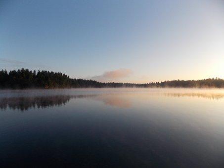 Lake, Sunrise, Fog, Sky, Nature, Scenic, Tranquil