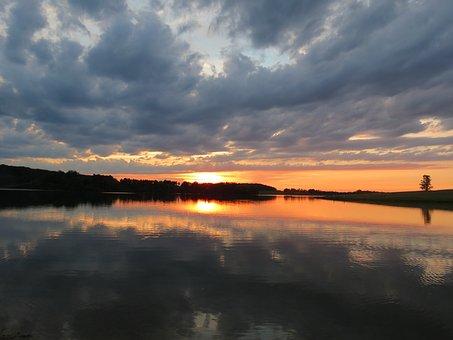 Sunset, Dusk, Sky, Landscape, Nature, Summer, Sunlight