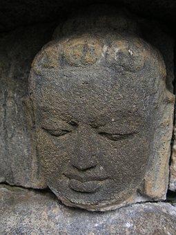 Statue, Face, Sculpture, Head, Stone Figure, Indonesia