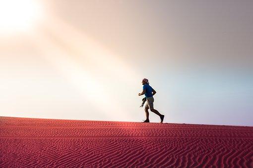 Desert, Run, Abu Dhabi, Sun, Nature, Young, Sand