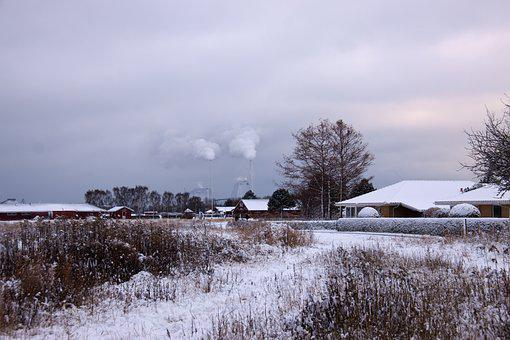 Winter Landscape, Winter, Snow, Smoke, Houses, Eng