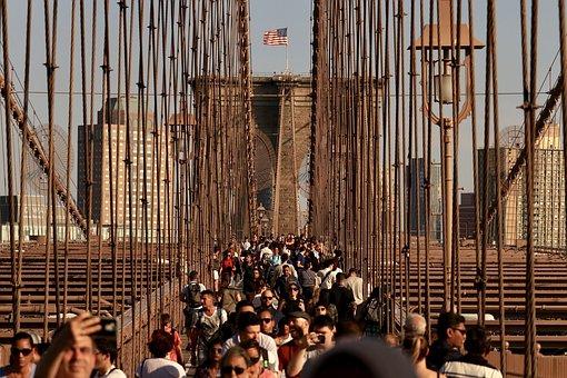 New York, Nyc, Brooklyn Bridge, Tourist, Tourism