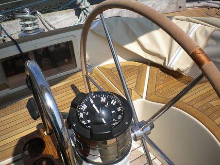 Sailing Vessel, Ship, Steering Wheel, Compass, Boot
