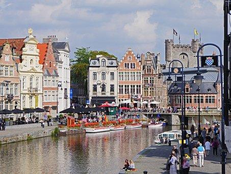 Gent, Downtown, Leie, River, Castle, Places Of Interest