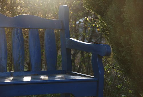 Bench, Garden Bench, Back Light, Blue, Seat