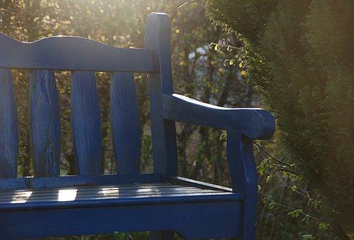 Bench, Garden Bench, Back Light, Blue, Seat