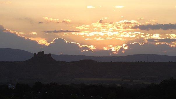 Dawn, Montearagón, Castle, Huesca, Sky, View