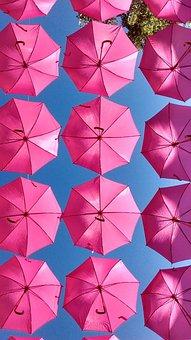 Pink, Parrapluie, Umbrella, Land-art, Artistic