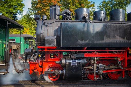 Locomotive, Machine, Steam Locomotive, Train, Station