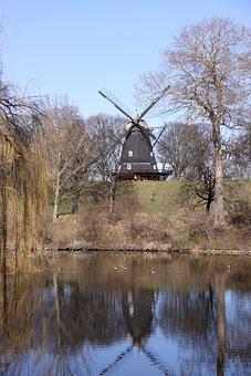 Mill, Mirroring, Blue, Sky, Sunshine, Park, Denmark