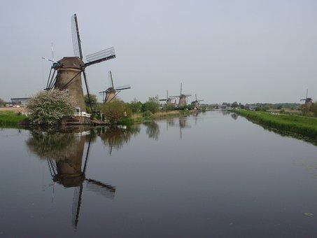 Windmill, River, Holland, Netherlands, Landscape, Dutch