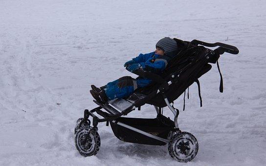 Stroller, Child, Sleeping, Snow, Winter, Denmark, White