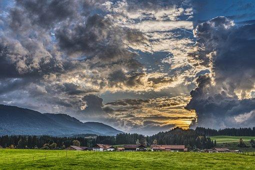 Storm Clouds, Threatening, Bavaria, Allgäu, Hiking