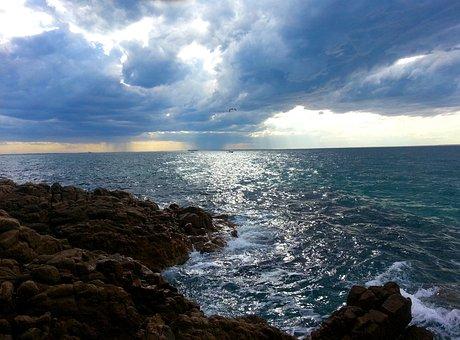 Cloudy, Sea, Ocean, Nature, Water, Sky, Beach