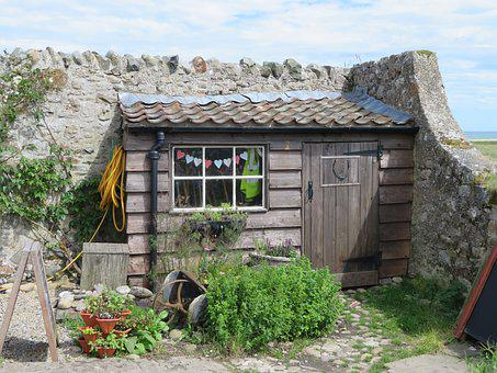 Shed, Hut, Garden, Holy Island, Outdoor, Construction