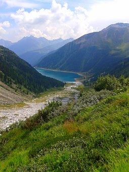 Dam, Alpine, Reservoir, Mountains, Alpine Lake, Tyrol